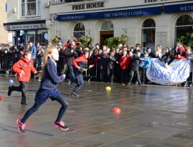 Pancake Race in Warwick Market Place