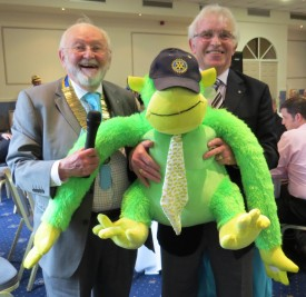 A draw prize being handed over to David Brain from the RC of Henley-in-Arden. The one in the middle is the prize