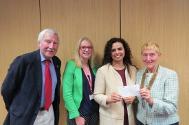 Pictured are Alan Bailey, Katherine Golden and Parneet Kang from PaYP, and Rotary President Jackie Crampton