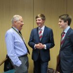 President John Taylor talking to students from Warwick School