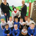 Anne Canning and Cllr Christine Cross, Warwick Mayor with children from Newburgh and their Guy Fawkes.